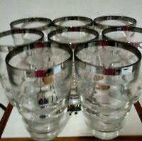 Retro MCM Vintage Silver Rimmed Drinking Glasses 10 ounces Set of 8