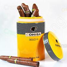 COHIBA Yellow Classic SIGLO VI Ceramic Cigar Jar Tube Holder 25 Cigars Humidor