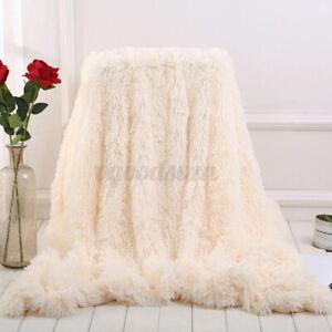 Soft Plush Fluffy Fur Throw Blanket Sofa Bedspread Shaggy Cozy Cushion Cover a