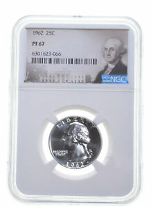1962 PF67 Proof Washington Quarter NGC Graded - White Coin Spot Free PR *0945