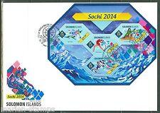 SOLOMON ISLANDS 2014 SOCHI WINTER OLYMPICS SKATING SKIING HOCKEY SHT FDC