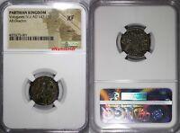 Parthian Kingdom. Vologases IV. AR Drachm. NGC XF Persian Empire RAINBOW TONED