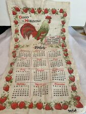 Vintage Linen Tea Towel 1966 Calendar Rooster and Strawberries