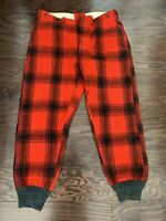 Vintage Woolrich Buffalo Plaid Wool Pants Hunting Made USA Red Mens Size 36 Vtg