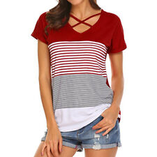 CA Women's Ladies Stripe Splice O Neck T-Shirt Short Sleeve Casual Tops Blouse