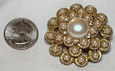 """Vintage Sarah Coventry Crystal Faux Pearl Brooch Pin.  1-7/8""""  wide"""
