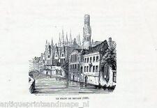 Antique print Bruges Brugse Vrije 1868 Franc de gravure Brugge Stampa antica