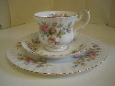Royal Albert Moss Rose Cup Saucer Plate Trio Fine Bone England China