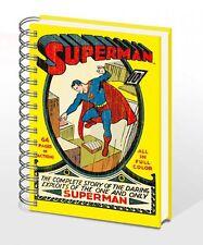 DC SUPERMAN NO 1 RETRO COPERTINA RIGIDA ANELLO TENUTA QUADERNO A5 NUOVA PIRAMIDE FODERATO