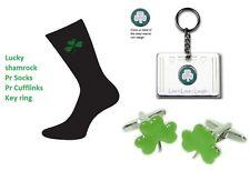 Calze irlandese + GEMELLI + PORTACHIAVI: LUCKY SHAMROCK Mans Regalo di Compleanno Set