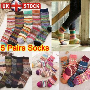 5 Pairs Women Mens Thick Winter Socks Warm Wool Christmas Nordic Novelty Sock UK