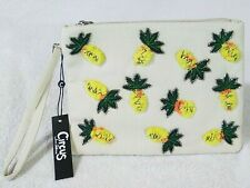 Circus by Sam Edelman Pia Pineapple Embroidered Clutch Bag Yellow New with Tag