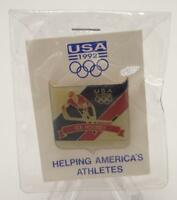 1992 Albertville Winter Olympics Ice Hockey Pin Sealed Gold Tone Metal Lapel