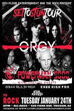 "Orgy/Powerman 5000 ""Set To Stun Tour"" 2017 Tucson Concert Poster-Industrial Rock"