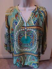 TRINITY for Anthropologie 100% Silk Paisley Print Tunic Top Shirt Blouse Sz S