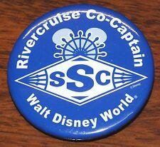 """River Cruise Co-Captain SSC Walt Disney World Circular Blue 2 1/4"""" Pin / Button!"""