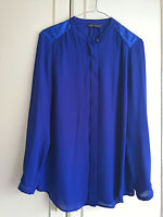 MARKS & SPENCER WOMENS BLUE BLOUSE CHIFFON BUTTON TOP SIZE 8 SEQUINS LONG SLEEVE