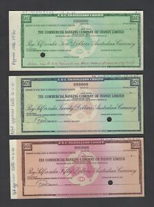 Australia ,The Commercial Bank of Sydney 10-20-50 Dollars 1934 Specimen Cheques