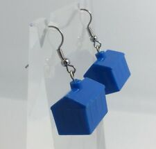 Dark Silver Hooks Monopoly G315 House Earrings Blue Charms Plastic Kitch