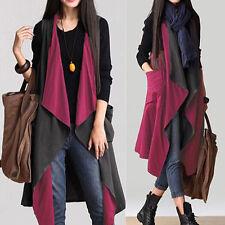 Womens Coat Long Gilet Jacket Waistcoat Open Front Outerwear Parka Long Cape Top