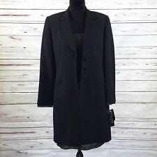 Albert Nipon Evening Woman's 2PC Suit Dress & Long Coat Black Beaded Size 4 NWT