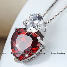 S925 Sterling Silver Red Love Heart Necklace Xmas Gifts for Girlfriend Wife Mum