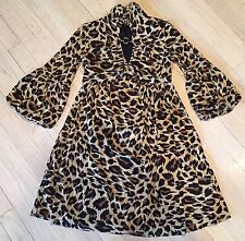 BETSEY JOHNSON black brown cheetah leopard print 3/4 sleeve dress Sz 2