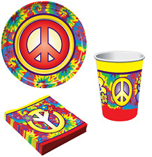 Complete 32pc 1970s 70s Hippie Theme Birthday Fancy Dress Party Tableware Set