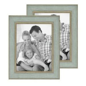 """8"""" x 10"""" Picture Frame, Coastal Rustic Farmhouse Teal, 2-pack, Tabletop or Wall"""