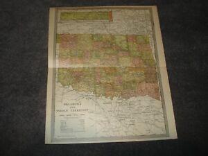 Antique 1904 MAP of Oklahoma & Territory  Americana Co 12 X 10