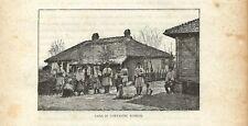 Stampa antica BUCAREST BUCURESTI casa contadini Romania 1893 Old Antique Print