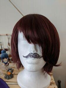 Short maroon burgundy cosplay wig