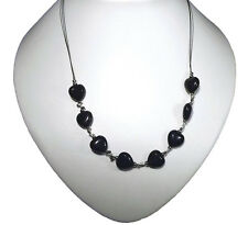 """Hearts & Kisses 19"""" Long Very nice Necklace Black Onyx"""