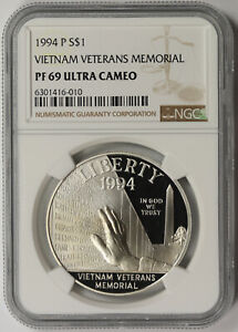 1994-P Vietnam Veterans Memorial Silver Commemorative $1 PF 69 Ultra Cameo NGC