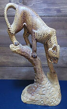 More details for kenyan hand carved leopard / cheetah wooden ornament 14 inches tall