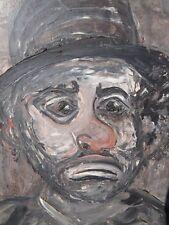 Vintage ASHCAN School Oil Painting HOBO CLOWN Tramp Art Social Realism 1950's