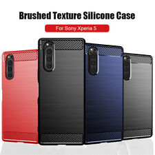 For Sony Xperia 5/1 /10 Plus Slim Fiber Carbon Silicone Soft TPU Back Case Cover