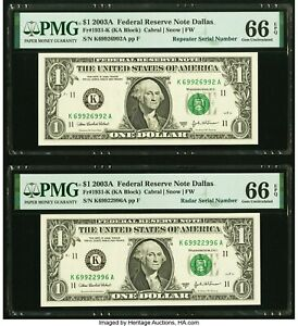 2003 A $1 FRN Repeater and Radar Serial Number Two Notes PMG 66 EPQ