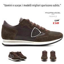 PHILIPPE MODEL scarpe da Uomo sneakers Tropez 5007 casual pelle marrone moro