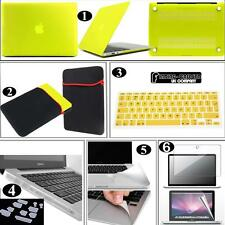 Bundle 6 in 1 Rubberized Hardshell Case Pouch UK Keyboard Skin For Apple Macbook