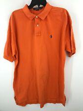 Ralph Lauren Polo Shirt Mens Large Orange Adult Rugby Blue Pony Short Sleeve *