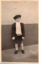 BK947 Carte Photo vintage card RPPC Enfant mode fashion casquette écharpe funny