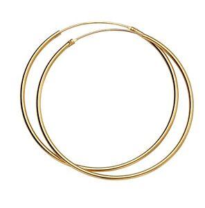 14ct Gold-Plated 925 Sterling Silver 50mm Hoop Sleeper Earrings (Pair)