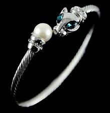 Venetti Silver Tone Twist Design Animal Bangle Bracelet Pearl & Crystal BV3