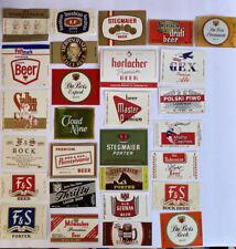 Vintage Lot Of 28 Beer Ale Malt Liquor Bottle and Keg Labels Nos Unused