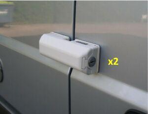 Pair of Milenco Van Campervan Sliding Door & Back Door Security Dead Locks White