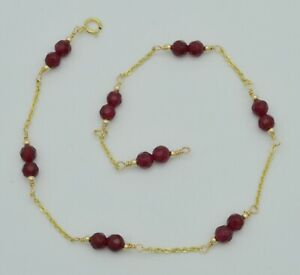New Exquisite 14K Solid Gold 4mm ruby Beaded Anklet bracelet 9- 10''