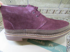 NEW CLARKS BUSHACRE RAND BURGUNDY SHOES MENS 11 SHOE BOOTS SUEDE