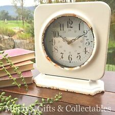 23cm Tall Vintage Industrial Style Distressed White Iron Mantle Clock