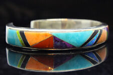 Women Full Size Cuff 925 Sterling Silver Southwest Jewelry 7 Gem Stone Turquoise